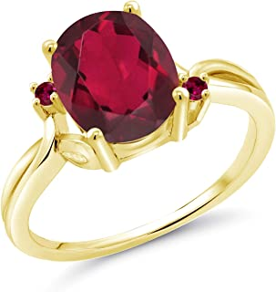 Gem Stone King 2.73 Ct Oval Red Mystic Quartz Red Created Ruby 14K Yellow Gold Ring (Available 5,6,7,8,9)