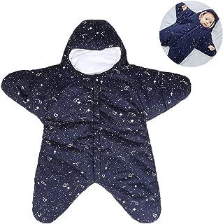 Baby Sleeping Bag, Winter Wearable Blanket Cotton Warm Starfish Bunting Sleeping Bag Nightgowns Newborn, for Boy and Girl,Black,S