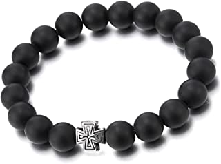 Mens Womens Mat Black Onyx Beads Bracelet with Charm of Vintage Cross, Prayer Mala, Stretchable