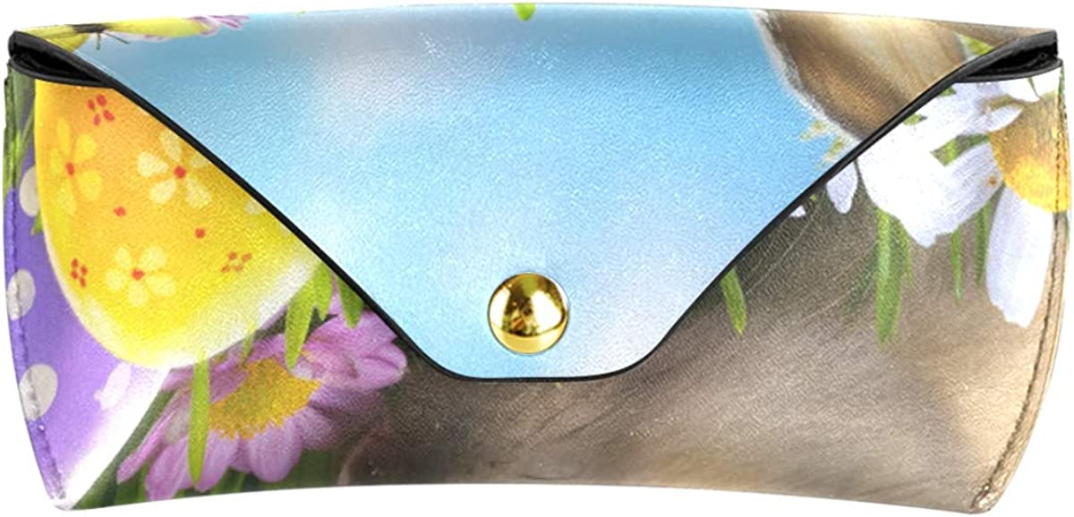 Sunglasses Case Eyeglasses Pouch Goggles Bag Multiuse Happy Easter Funny Bunny And Egg present PU Leather Portable