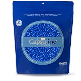 Colored Size 0 Empty Gelatin Capsules by Capsuline - Blue/Blue 1000 Count |Kosher & Halal Certified |Gluten Free
