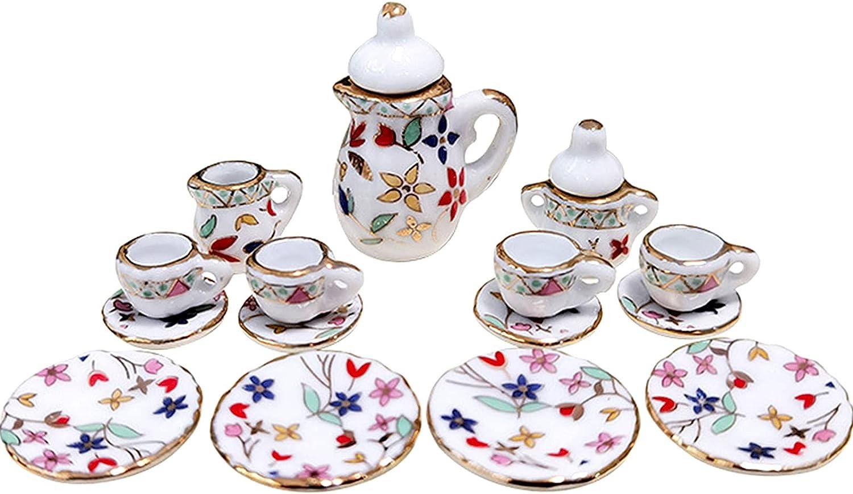 MHW 15 New York Mall Piece 1 12 Miniature Flower Pattern Set Max 49% OFF Cup Porcelain Tea