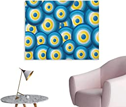 Anzhutwelve Evil Eye Mural Decoration Overlapping Evil Eye Figures Cultural Ethnicity Turkish Positive Lucky Sign Poster Print Blue White Yellow W36 xL32