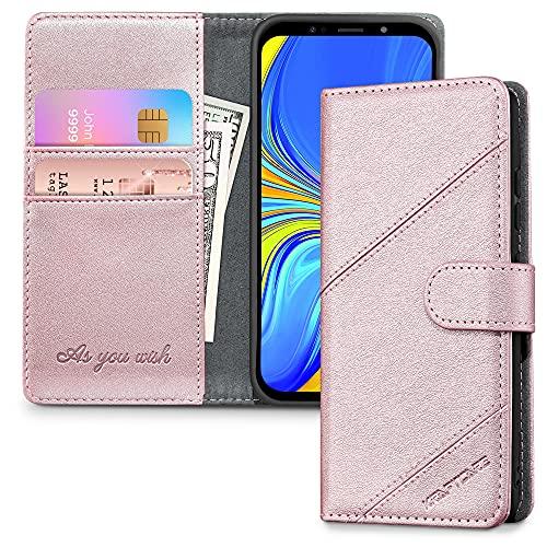 KRAFTCARE 2021 Upgraded A7 2018 Hülle für Samsung Galaxy A7 2018 Handyhülle [Kartenfach] [Standfunktion] Flip Case Leder Stoßfeste Schutzhülle Bookcase für Galaxy A7 2018 Klapphülle, Rose