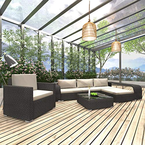 WWZH 8 Piece Sofa Set Lounge kIT All Weather Wicker Outdoor Patio Conversation Set with Cushions & Back Pillows, Include 2 Side Table, 1 xsingle Sofa, 1 x Ottoman, 1 x Tea Table, Black