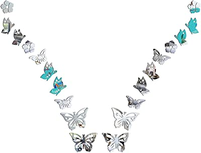 HOLME'S Butterfly 3D Mirror Acrylic Wall Stickers Home Office and Latest Decoration-(Silver-Pack of 20)