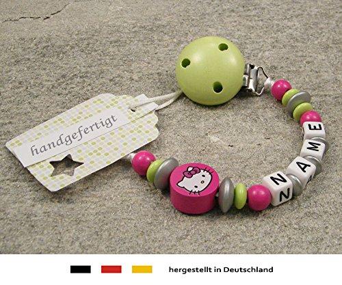 kleinerStorch Baby SCHNULLERKETTE mit Namen - Schnullerhalter mit Wunschnamen - Mädchen Motiv Hello Kitty in pink, Lemon grün