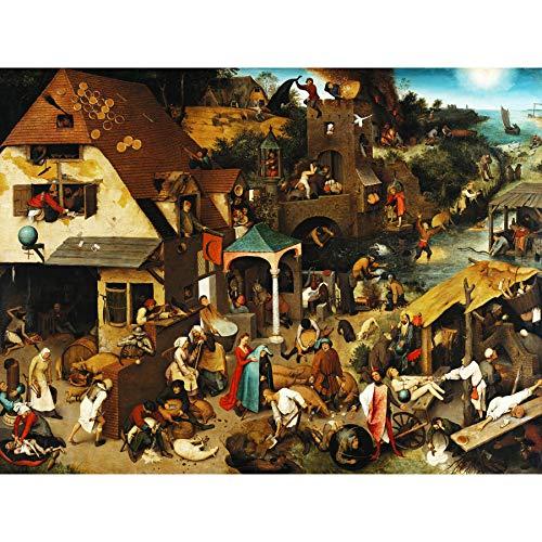 Pieter Bruegel der Ältere, die niederländischen Sprichwörter, extragroßer Kunstdruck auf Leinwand
