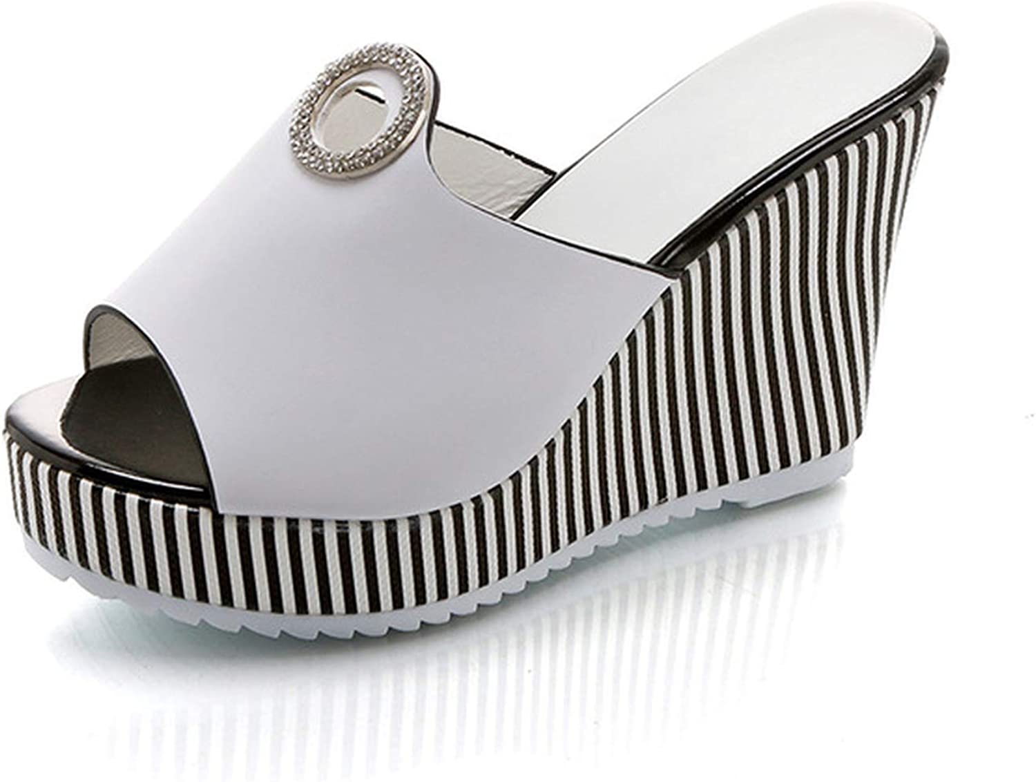 GEKX Women shoes Woman Slippers Slides Fashion Sexy Buckle Platform shoes Striped High Heels Wedges Ladies shoes
