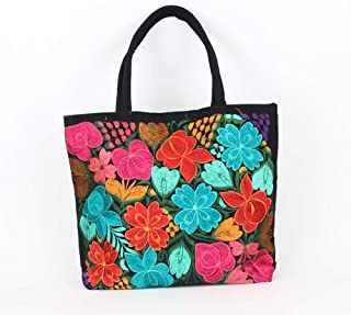 Mexican Embroidered Bag Black, Mexican Embroidered Purse, Boho Beach Bag