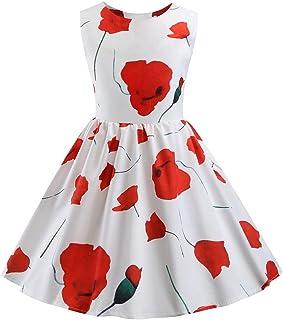 658412d73 Waotier Vestido para NiñA Vestido Sin Mangas con Cuello Redondo Y Estampado  De Princesa De NiñA
