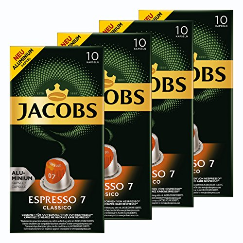 Jacobs Espresso 7 Classico, Kaffeekapseln, Nespresso Kompatibel, Kaffee, 40 Kapseln, á 5.2 g