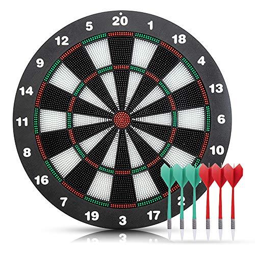 WHCL Safety Dart Board Set, 16-Zoll-Gummi-Dart-Boards mit 6 weichen TIPP-Darts, Dartboard-Spiele für Kinder & Erwachsene, Party, Büro- und Familienfreizeit Sport