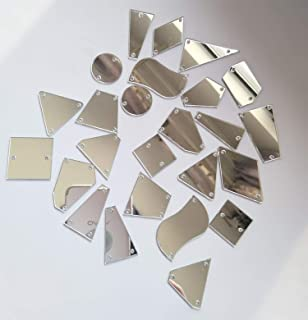 50PCS Silver Sew on Mirror Rhinestones Sew On Mirror Pieces with Holes Flat Back Acrylic Shiny Sew-on Stone for Dress Decoration (Mix Shapes, Silver Mirror)