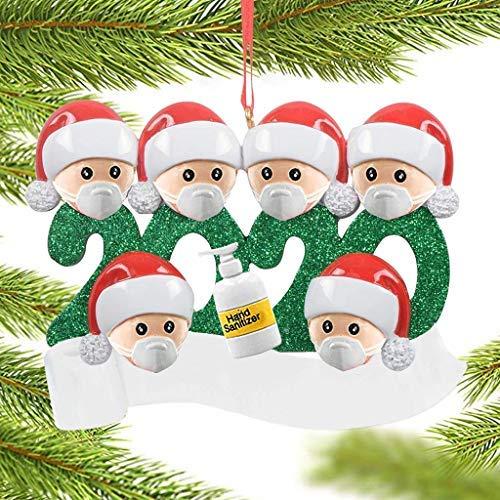 Koly-Hundebett 5 Stück Weihnachtsbaum Anhänger 2020 Überlebte Familie Christbaumschmuck DIY Resin Baumschmuck Zur Weihnachtsdekoration