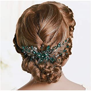 IYOU Peineta de pelo de cristal verde princesa para novia, accesorio para la cabeza para niñas y mujeres.