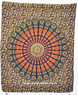 Yellow Tapestry Wall Hanging Mandala Tapestries Indian Cotton Bedspread Picnic Bedsheet Blanket Wall Art Hippie Tapestry