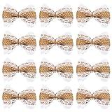 Juego de 12 lazos de arpillera de encaje de arpillera, lazo de yute, adornos para bodas, decoración de interiores, decoración al aire libre, marrón, 6,3 x 3,8 cm