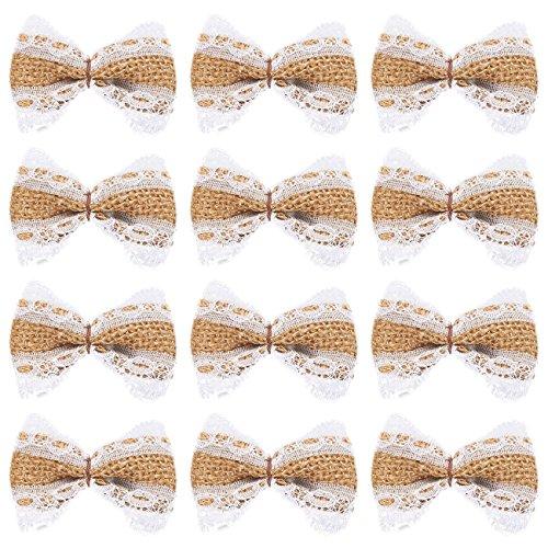 12-delige jute strik set - kant jute boeg, jute boog, boog versieringen voor bruiloften, interieur decoratie, outdoor decoratie, bruin, 2,5 x 1,5 inch