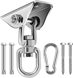 Awroutdoor Heavy Duty Swing Hangers Hooks,Stainless Steel 360°Swivel Hammock Hooks with Screws 1000LB Capacity for Concrete Wooden Sets Playground Porch Indoor Outdoor Seat Trapeze Yoga,GYM