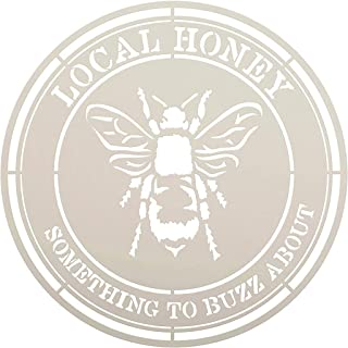 Local Honey Circle Stencil with Bee by StudioR12   DIY Country Kitchen Home Decor   Craft & Paint   Reusable Template   Se...
