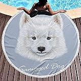 Olie Cam Toalla de Playa Redonda de impresión de Perro Samoyedo Toalla de baño Mejor Toallas de Playa
