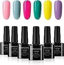 MAYCHAO Gel Nail Polish Set 6 Colors, Soak Off UV LED Gel Nail Art Kit 7.3ml (Bright Color Series)