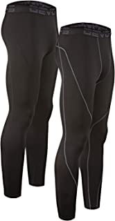 DEVOPS Men's 2 Pack Thermal Heat-Chain Compression Baselayer Long Johns Pants