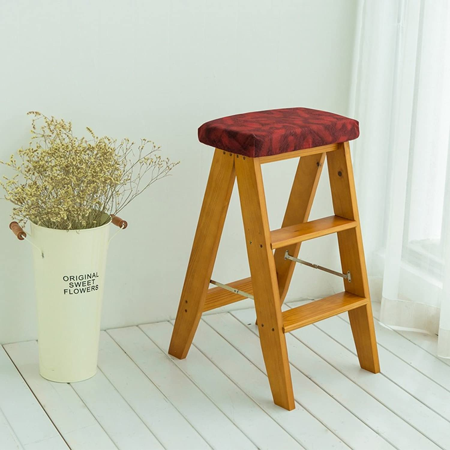 2 Step Ladder Solid Wood Folding Ladder Portable Household Kitchen Cutting Table Stool Chair Bar Stool Furniture (color   C, Size   343260cm)