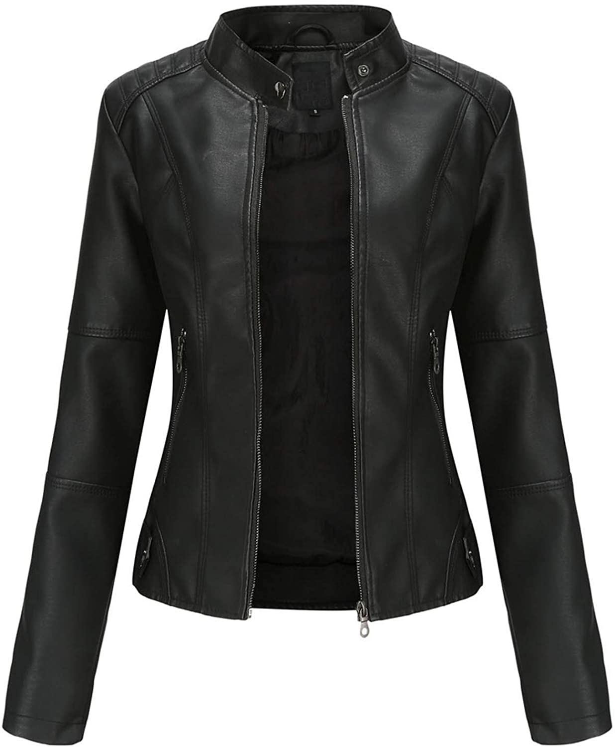 DEATU Faux Leather Jacket Women Motorcycle Fall Clothes Trendy Zip Jackets Slim-Fit Cropped Tops Short Thin Punk Coats