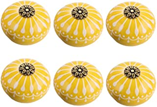 FirstDecor 6pcs Yellow Ceramic Knobs for Cabinet Round Style Cupboard Door Knobs Drawer Dresser Pull Handles