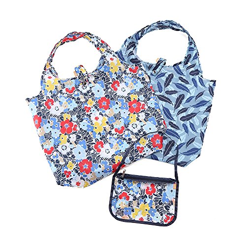 Reusable Shopping Bags - Stylish Folding Tote Design with Zipper Pouch - Washable and Lightweight Grocery Bags by Enti (Urban Garden, 2+1)