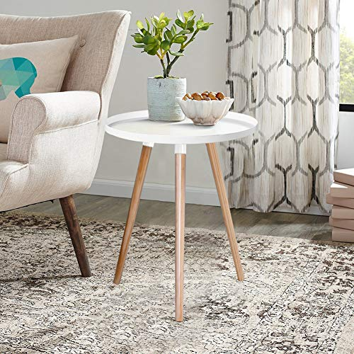 INMOZATA Scandinavian Coffee Table Round End Table Small Side Table with Wood Legs for Living Room Bedroom