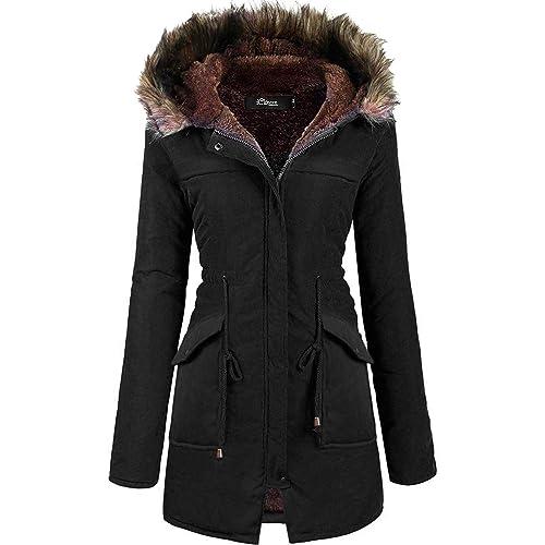 f007b925851bc iClosam Women Military Hooded Warm Winter Parkas Faux Fur Lined Jacket Coats