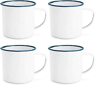 Rink Drink White Enamel Espresso Coffee Mugs - 150ml - Blue Trim - Pack of 4
