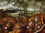 JH Lacrocon Pieter Bruegel el Viejo - El Día Melancólico Reproducción Cuadro sobre Lienzo Enrollado 120X80 cm - Pinturas Renacimiento Flamenco Impresións Decoración Muro
