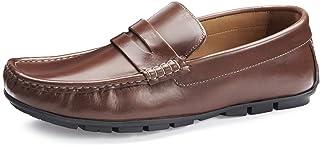 Samuel Windsor Men's Handmade Leather Classic Soft Slip-on Driving Shoe in Light Brown, Navy & Brown