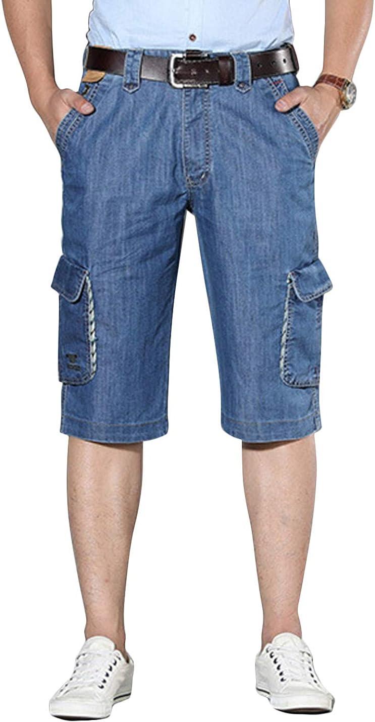 Yeokou Men's Summer Loose Military Six Pockets Cargo Jeans Denim Shorts