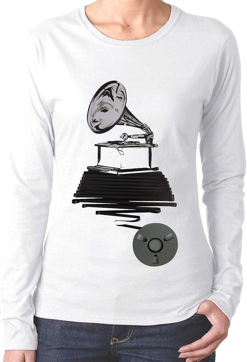 EVE JOHN Cool Gramophone1 T-Shirts for Female Long Sleeve Black