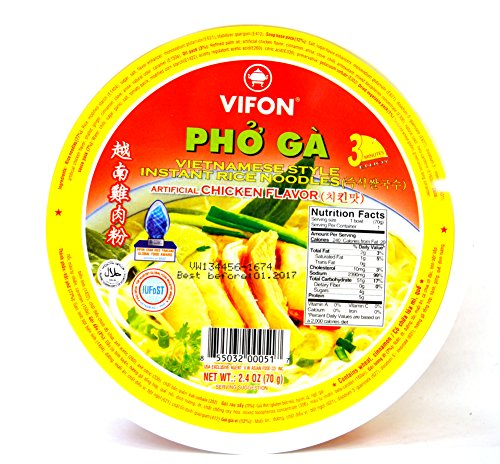 Vifon Pho Ga Noodle Bowl, Chicken, 2.4 Ounce (Pack of 12)
