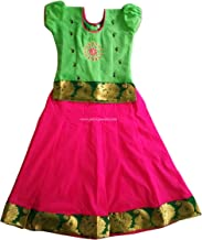 Raw Silk/Pattu Embroidery Pavadai Green and Pink for Baby Girls/Kids