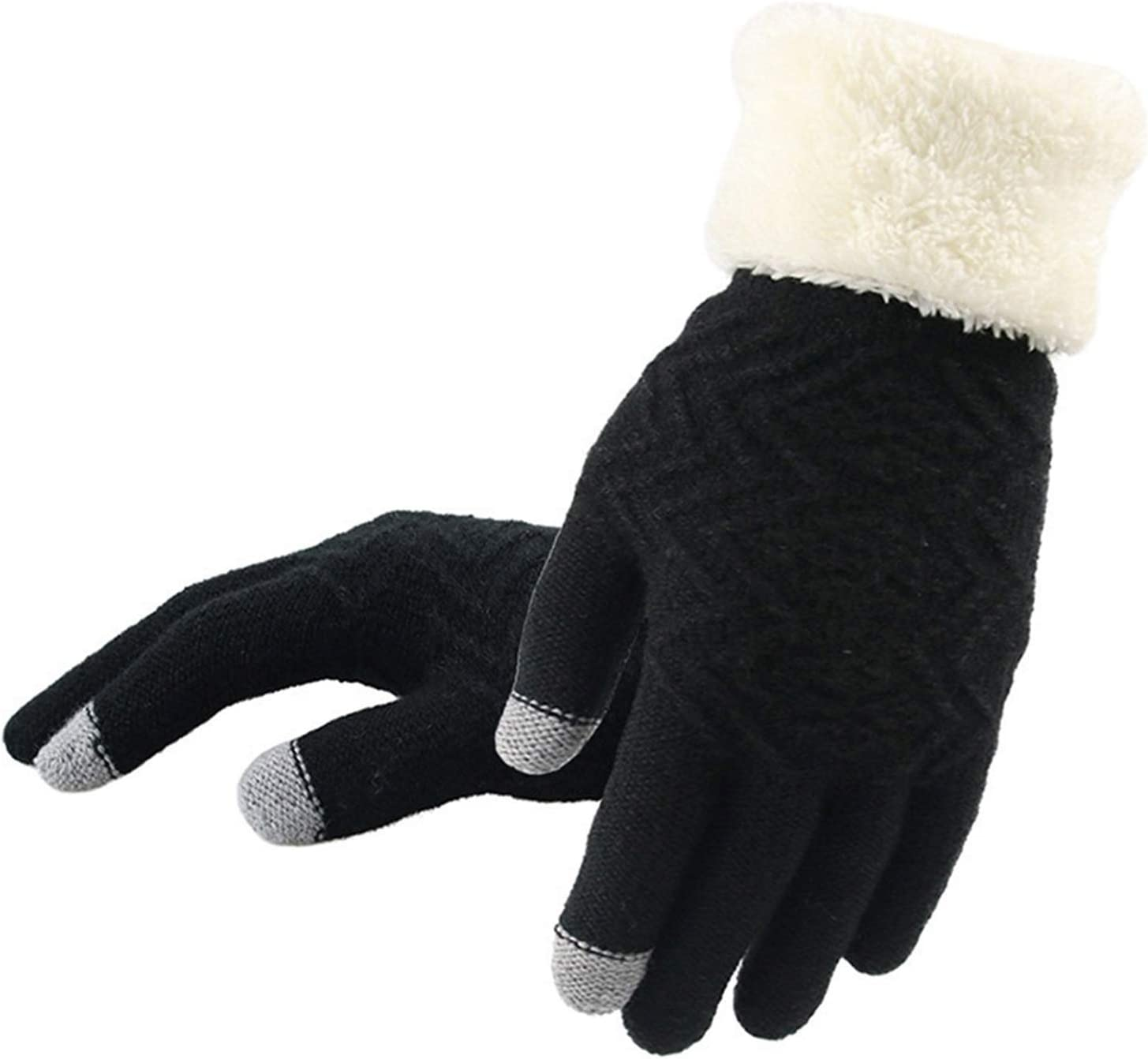 JBIVWW Women's Knitted Gloves Fashion European and American Style Winter Women's Gloves (Color : Black, Gloves Size : One Size)