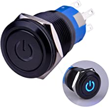Ulincos Latching Pushbutton Switch U19C1 1NO1NC SPDT ON/OFF Black Metal Shell with Blue LED Suitable for 19mm 3/4