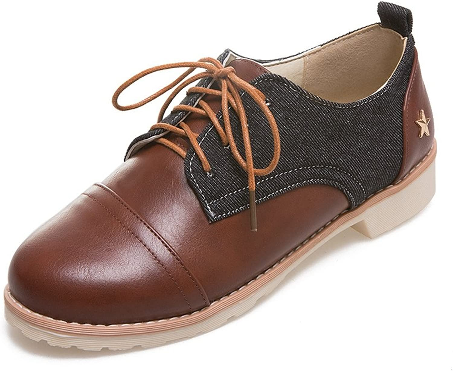 T-JULY Women's Retro Oxfords shoes - Comfy Lace-up Low Heel Round Toe Two Tone Casual shoes
