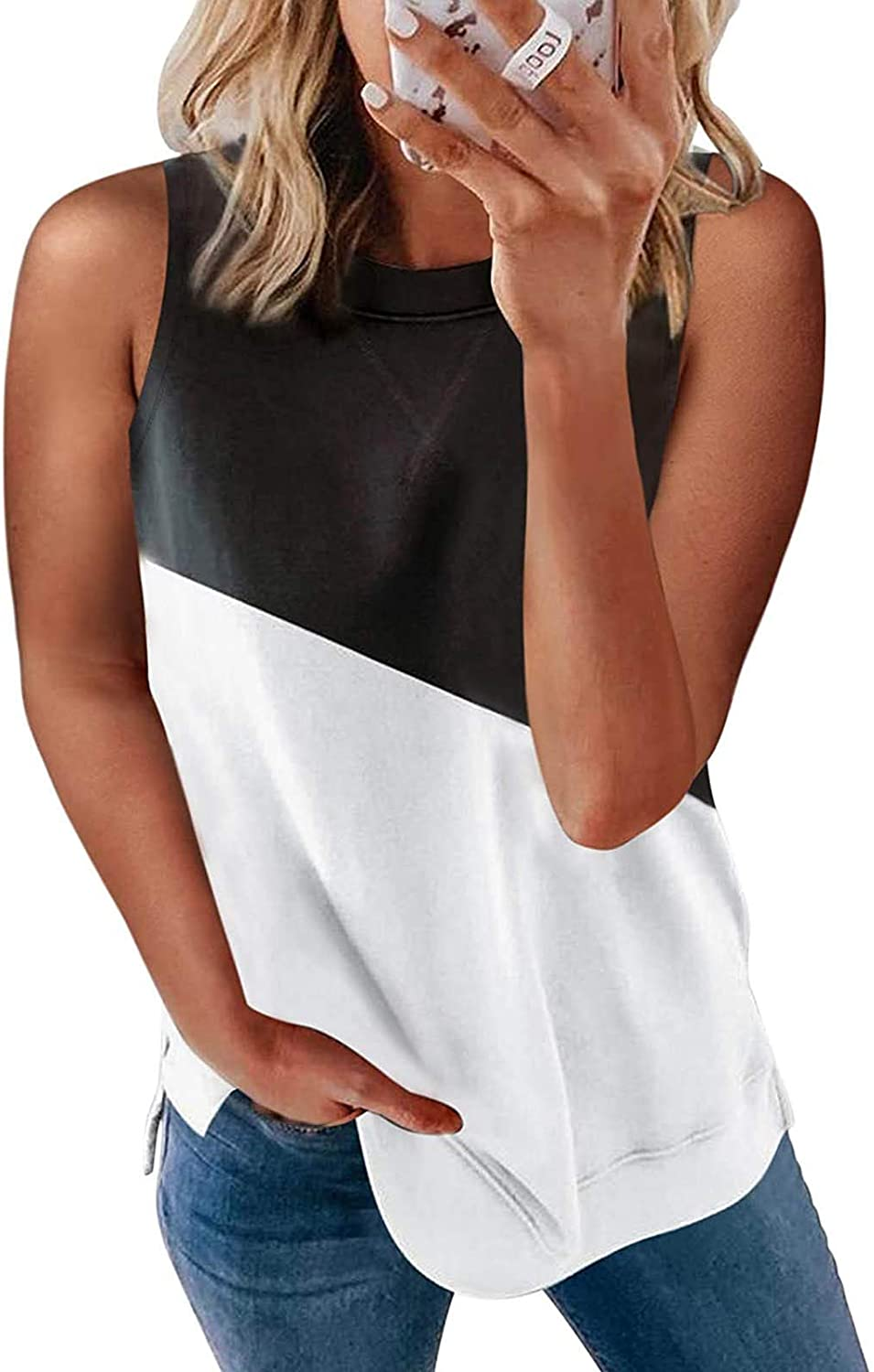 AODONG Tank Tops for Women, Womens Summer Casual Tank Tops Sleeveless Loose Fit Workout Blouses Shirts Vest Tunics
