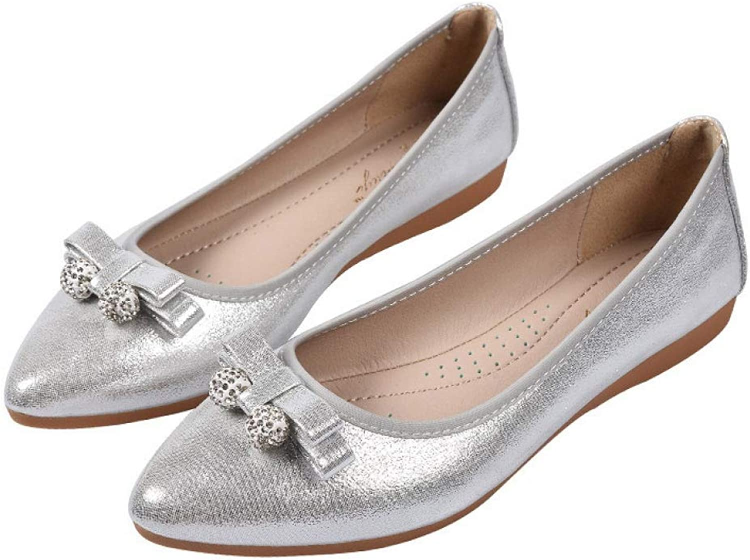 DETAIWIN Women Flat Ballet Pumps shoes Crystal Sequined Cloth Cozy Slip-On Soft Leather Pointed Toe Office Loafers
