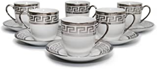 Royalty Porcelain 12pc Silver Miniature Coffee Set, 6 Silver-Plated Cups w/ Saucers, Greek Pattern Bone China Tableware