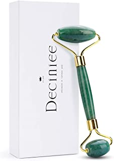 Deciniee Jade Roller,Authentic Nephrite Jade Face Roller Gift Set,100% Natural Green Jade Stone Facial Beauty Roller for F...
