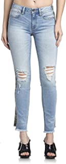 Womens Mid-Rise Ankle Straight Jeans in Light Blue
