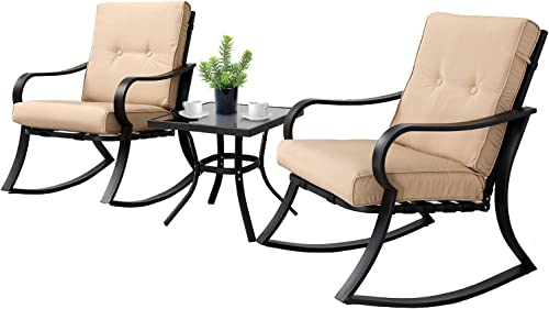 SOLAURA 3-Piece Outdoor Rocking Chairs Bistro Set, Black Steel Patio Furniture with Brown Thickened Cushion & Glass-T...